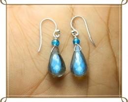 Quality Multicolor Labradorite 925 Silver Earrings JW26