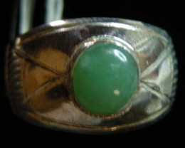 NATURAL  jade  IN TIBETAN  RING  SIZE  8  11 093