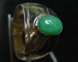 NATURAL  jade  IN TIBETAN  RING  SIZE  9   11 095