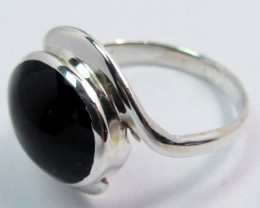 BLACK JADE RING (JADEITE)  RING SIZE 8.5GG1000