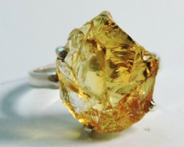 unique Virgin citrine   Rough  in Silver Ring size10   JGG 104