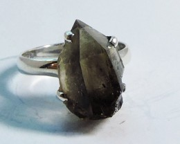 Virgin  Smokey Quartz Rough  in Silver Ring size 7  JGG 110