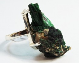 Virgin Rough  Malachite Crystal  in Silver Ring size 7  JGG 118