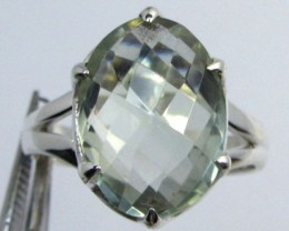 FACETED PRASIOLITE STYLISH SILVER RING SIZE 7.5 GG1049