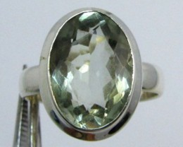 FACETED PRASIOLITE STYLISH SILVER RING SIZE 9  GG1052