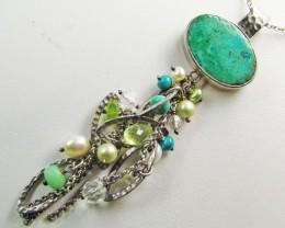Beautiful multi gemstone Pendant    MJA369