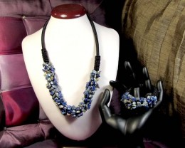 LAPIS LUZULI  BRACELET AND NECKLACE MGMG 261
