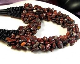 EARTHLY BROWN AGATE  BRACELET AND NECKLACE MGMG 268