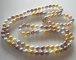 BEAUTIFUL NECKLACE 120cm AND BRACELET  SHELL PEARLS