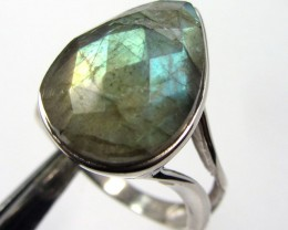 FACETED  LABRADORITE RING SIZE 9    GG 830