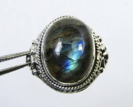FACETED  LABRADORITE RING SIZE 7.5  GG 1033