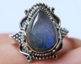 Labradorite in Silver Ring Size 7.5 BU1524
