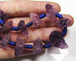 AMETHYST / LAPIS GEMSTONE NECKLACE  223 CARATS  GTT1601