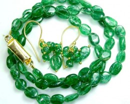 JADE DRILLED BEAD NECKLACE EARRING SET 65.5  CTS SG-2215