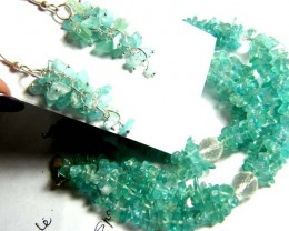 352 CTS APATITE NECKLACE EARRING SET    SG-2243