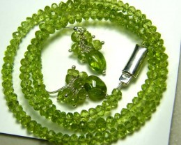 88 CTS  PERIDOT FACETED  NECKLACE EARRING SET AS-A5151