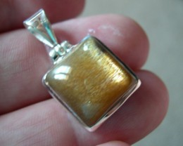 VERY NICE SILVER PENDANT WITH NATURAL SUN STONES