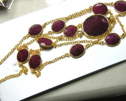 RUBY NECKLACE 11 STONES 93  CTS  AS-A5173