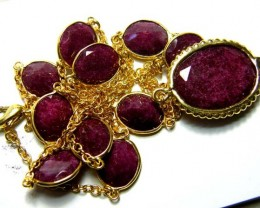 RUBY NECKLACE 11 STONES  92 CTS  AS-A5175