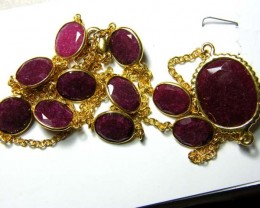 RUBY NECKLACE 11 STONES 91.5   CTS  SG-2074