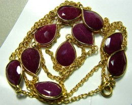 RUBY NECKLACE 10 STONES ALMOND SHAPE 82 CTS SG-2049
