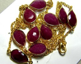 RUBY NECKLACE FACETED 10 STONES 82 CTS SG-2050