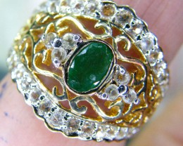EMERALD SILVER RING  27.70 CTS  SIZE-  7  RJU-40