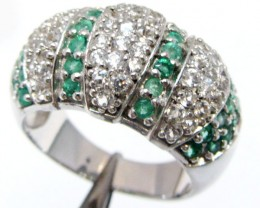 Emerald Gemstones in Silver Ring size 8 MJA 826