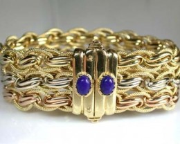 46.6 GRAMS 18K ITALIAN GOLD BRACELET  WITH , 19CM LONG 46.6  GRAMS L380