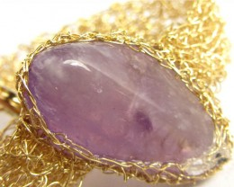 87CTS  AMETHYST   BRACELET GOLD PLATED COPPER WIRE  MGMG 304