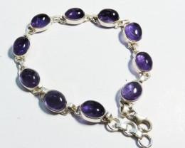 32 Cts Amethyst Sterling Silver bracelet  HS1368