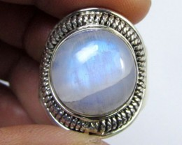 LARGE MOONSTONE SILVER RING SIZE13   GG 1008