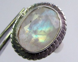 LARGE MOONSTONE SILVER RING SIZE 6  GG 1024