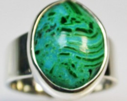 6.5 RING SIZE MALACHITE AZURITE SILVER RING [SJ2277]SH