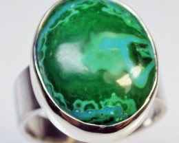 8 RING SIZE MALACHITE AZURITE SILVER RING [SJ2285]