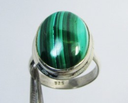 MALACHITE IN STERLING SILVER RING  SIZE 7 GG 1020