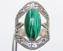 Malachite in silver Ring Size  10  MJA 521