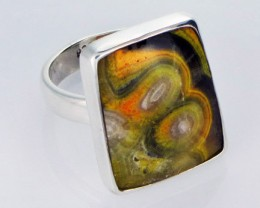 8 RING SIZE BUMBLE JASPER SILVER RING. [SJ2799]