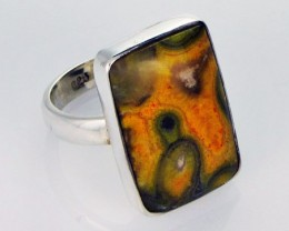 8 RING SIZE BUMBLE JASPER SILVER RING. [SJ2800]