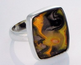 8.5 RING SIZE BUMBLE JASPER SILVER RING. [SJ2801]