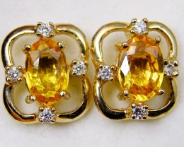 NATURAL SAPPHIRE 14K YELLOW GOLD EARRINGS  MYT 795