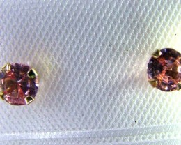 PINK SAPPHIRE EARRINGS .38CTS  3.5MM 14K SG-2126
