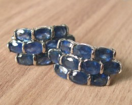 VERY NICE PAIR OF SILVER EARINGS + 20 NATURAL BLUE SAPPHIRES