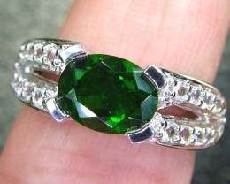 CHROME DIOPSIDE SILVER RING  21.40 CTS  SIZE- 7  RJU-10