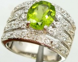 CHROME DIOPSIDE  SILVER RING  42.15 CTS  SIZE-6.50    RJ-338