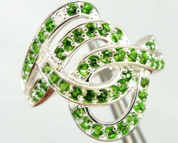 DIOPSIDE  SILVER RING  20.05 CTS  SIZE-8.25    RJ-378
