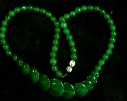EMERALD GREEN QUARTZ NECKLACE  BEAD STRAND   11 072