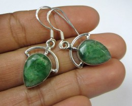 25 TCW MOZAMBIQUE  LARGE EMERALD SILVER EARRING  GG802