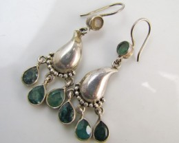 41 Cts  Emeral set in silver Earrings  MJA 120
