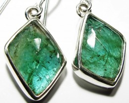 NATURAL EMERALD EARRINGS -SILVER [SJ4104]